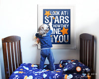 Nursery decor, baby nursery art. Nursery wall quote, inspirational typography print. blue orange look at the stars. Art print by Wallfry