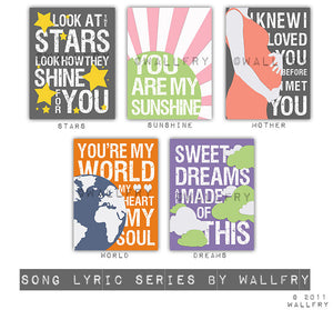 Kids wall art. Song Lyric prints for nursery and playroom. Children artwork print nursery decor. Kids decor SET OF 3 prints by WallFry