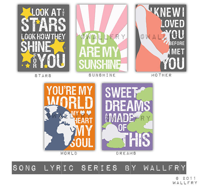 Song lyric typography for kids wall art. Look at the stars print nursery decor. Kids decor SET OF 2 prints by WallFry
