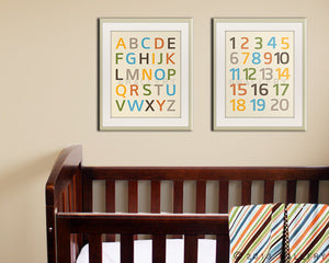 Modern Alphabet wall art. Nursery art ABC poster. Children artwork for playroom ABC alphabet print by WallFry