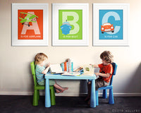ABC prints transportation art. Playroom artwork. Playroom art cars, planes alphabet. SET OF 3 prints by WallFry