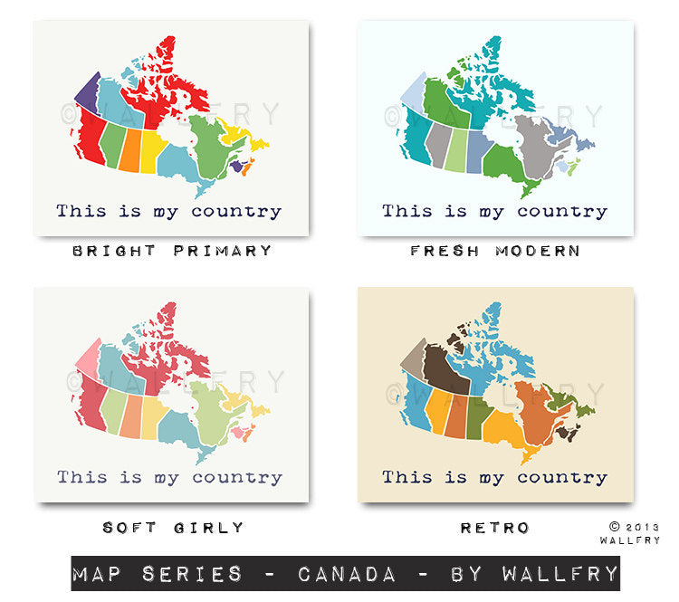 Canada Map. Nursery decor us map for kids. Playroom decor world maps nursery art print. Modern map print nursery print by WallFry