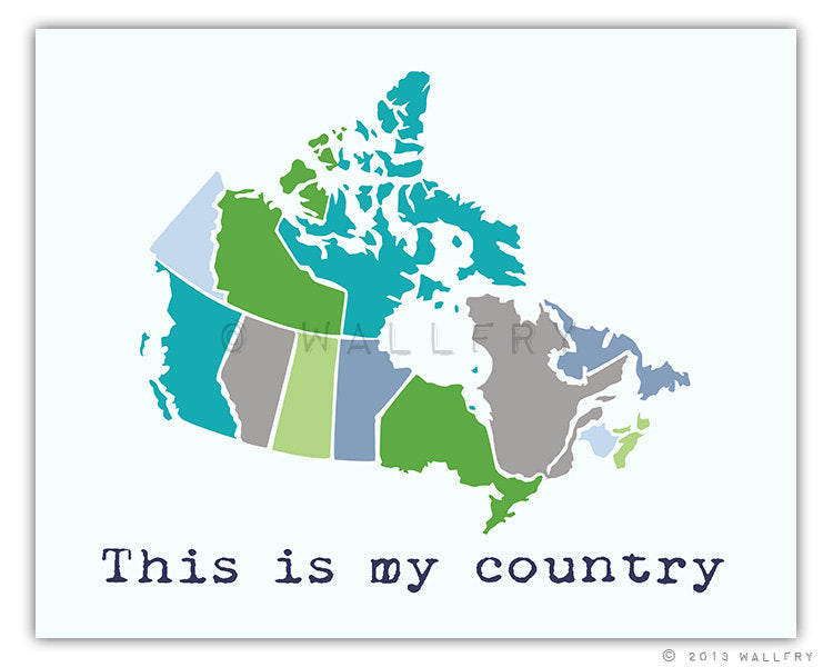 Modern Us Map.Map Print Canada Wallfry Pty Ltd