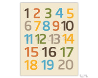 Modern Numbers wall art. Nursery art 123 poster. Children artwork for playroom 123 numbers print by WallFry