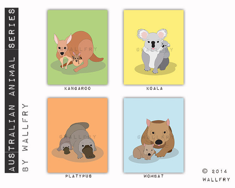 Baby nursery decor. Mother and baby art prints. Baby animal nursery. Australian animals. Kangaroo, koala,  SET OF 3 prints by WallFry