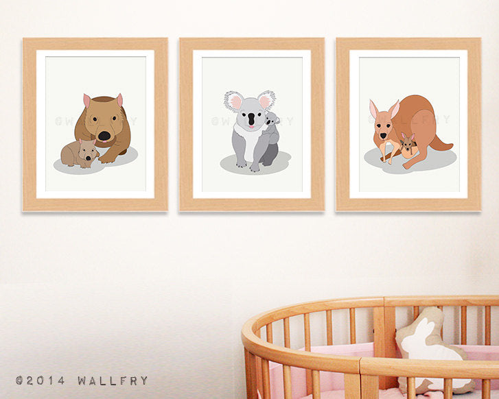 Bush animal woodland nursery. Australian Animal artwork. Aussie animal art kangaroo, koala, platypus. SET OF 3 prints by WallFry