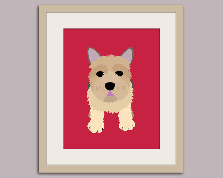 Norwich Terrier dog print. Puppy nursery artwork for baby & kids room decor theme. Custom colors, Dog Series print by WallFry