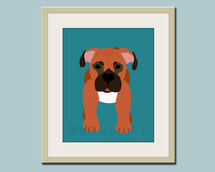 Dog Print for baby, nursery art for child. Custom modern Boxer Puppy picture in blue for kids room decor from painting by WallFry