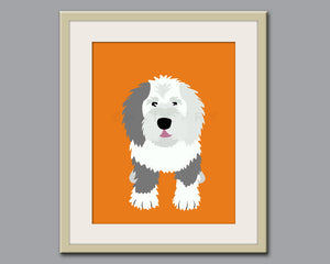 Old English Sheepdog dog print. Puppy nursery artwork for baby & kids room decor theme. Custom colors, Dog Series print by WallFry