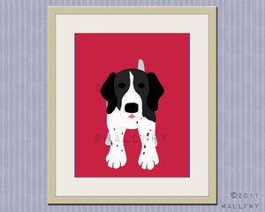 German wire haired pointer dog print. Puppy nursery artwork for baby & kids room decor theme. Custom colors, Dog Series print by WallFry