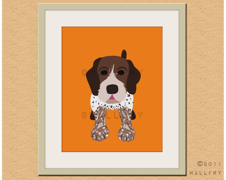 German shorthaired pointer dog print. Puppy nursery artwork for baby & kids room decor theme. Custom colors, Dog Series print by WallFry