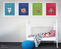 Mother and baby prints for baby nursery decor. Australian animal nursery art. Love, always, forever, together. SET OF 4 prints by WallFry