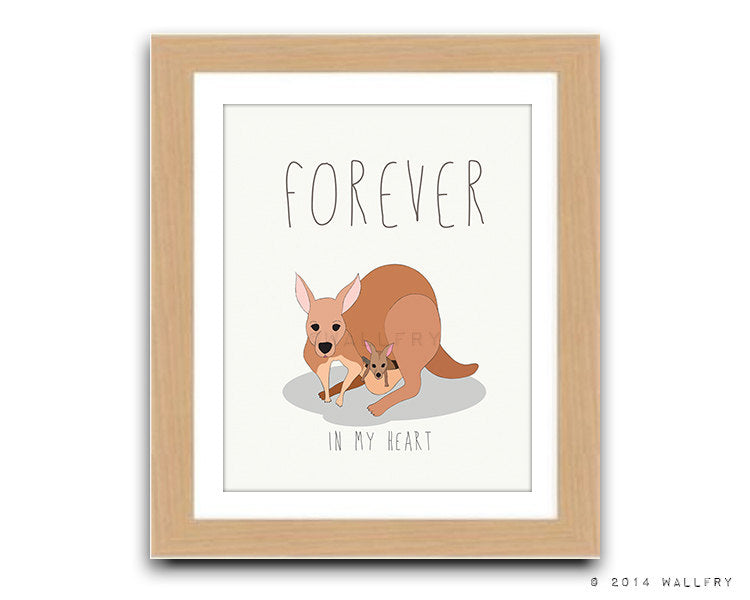 Kangaroo artwork baby nursery decor. Aussie animals artwork. Bush nursery. Australian animal nursery art. Kangaroo forever print by WallFry