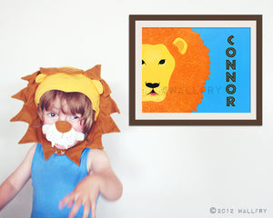 Personalized children art Lion Print baby nursery art. Personalized safari artwork, jungle art, animal for kids rooms in orange and blue