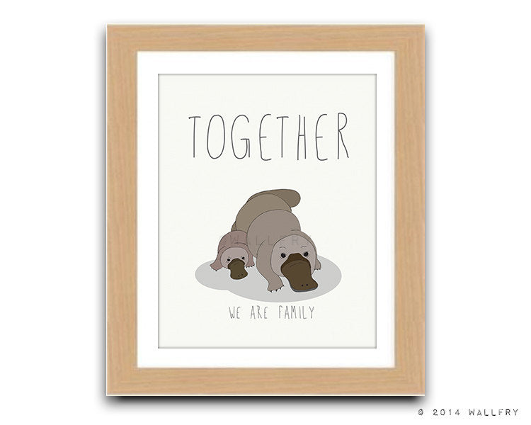 Platypus baby print baby nursery decor. Aussie animals. Mother and baby. Australian animal nursery art. Platypus together print by WallFry