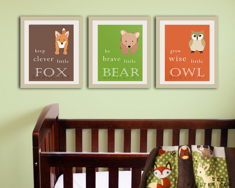 Fox Woodland children nursery decor art print forest animals prints. Nursery artwork woodland animal. Clever fox print