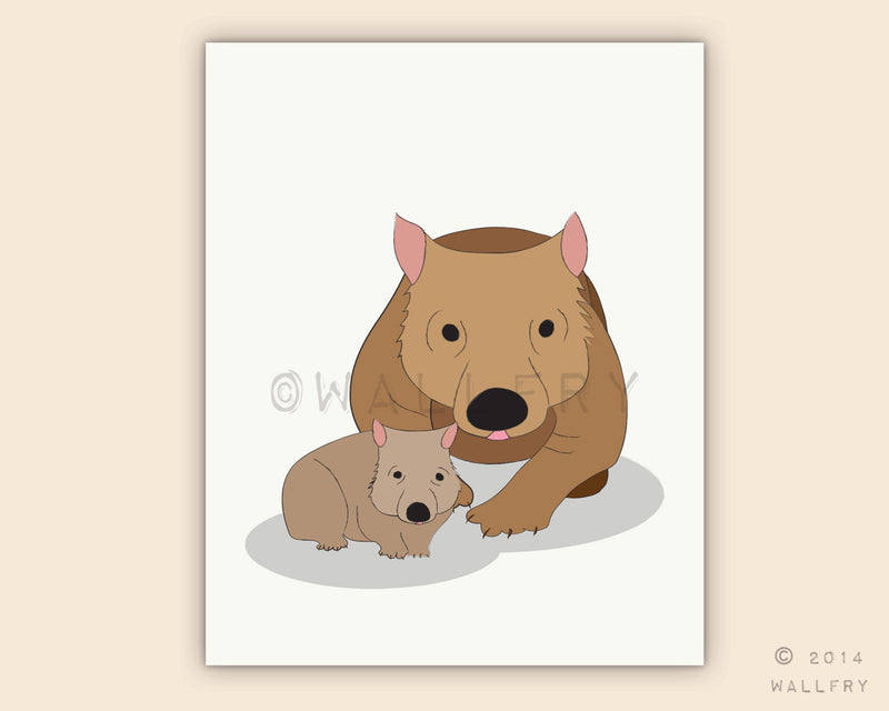 Wombat and baby print for baby nursery decor. Aussie animals. Bush nursery. Australian animal nursery art. wombat always print by WallFry