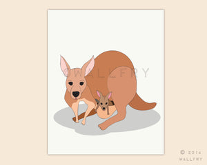 Kangaroo and baby print for baby nursery decor. Aussie animals. Bush nursery. Australian animal nursery art. Kangaroo print by WallFry