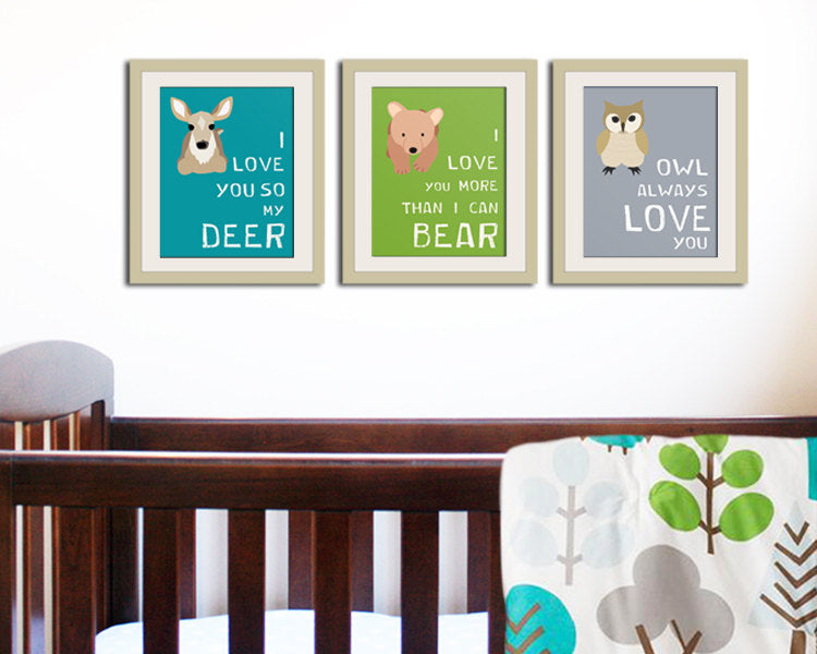 Nursery print. Bear forest animals print. Nursery decor artwork woodland critter. Bear teal turquoise custom colors.