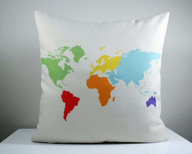 USA map throw pillow cushion. 18x18 inch. Nursery decor, United States pillow, Map cushion.  Professionally printed soft linen fabric