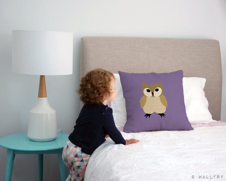 Owl throw pillow cushion. 18 x 18 inch. Woodland decor, Nursery decor, children's play area.Professionally printed soft linen fabric