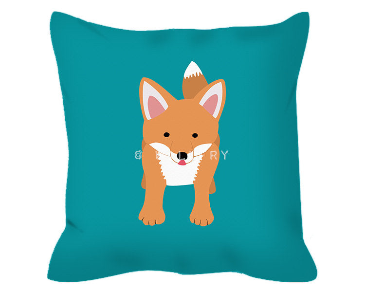 Woodland decor throw pillow cushion. Fox cushion. Nursery decor, children's play area.Professionally printed soft linen fabric