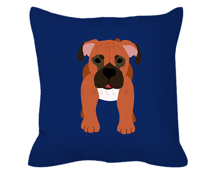 Throw pillow cushion with Boxer design. Nursery decor, children's play area, perfect for dog lovers. Professionally printed with zipper