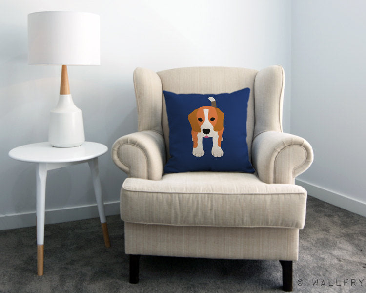 Beagle throw pillow for dog lovers.Professionally printed with zipper. Nursery decor, children's area, play spaces. Soft furnishings.