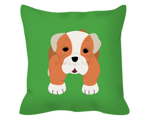 Nursery decor bulldog throw pillow. 18x18. Professionally printed on cotton cover with custom colors. Comfortable cushion available.