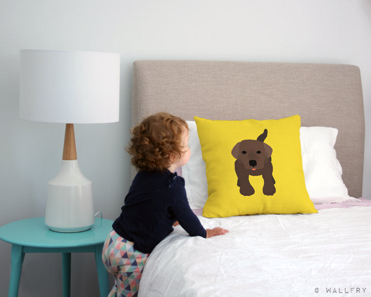 Labrador nursery decor. Throw pillow cushion for children's play area, perfect for dog lovers. Professionally printed with zipper
