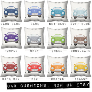 Transport cushion for boys nursery or play area. Car. Nursery decor, children's play area.Professionally printed soft fabric with zipper