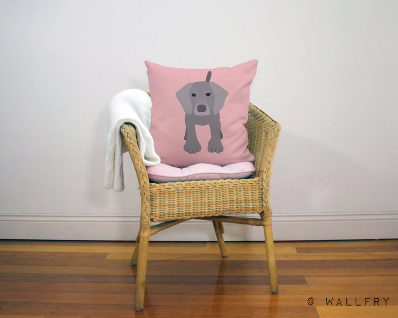 Weimaraner design throw pillow. 18 inch square cushion. Perfect for dog lovers. Professionally printed with zipper with or without insert