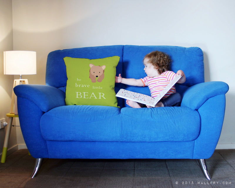 Be brave little bear throw pillow / cushion. Woodland nursery decor, Bear cub. Quality printed soft fabric cushion with zipper by WallFry
