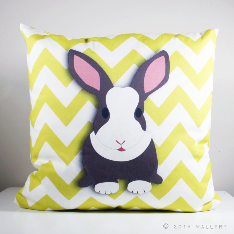 Throw pillow cushion. Rabbit pillow. woodland Nursery decor, children's play area. Professionally printed soft fabric with zipper