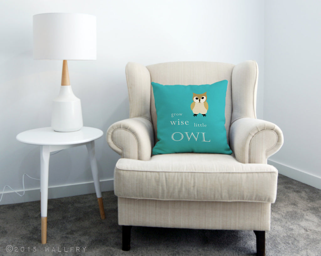 Woodland nursery decor, Grow wise little owl throw pillow / cushion. Owl nursery. Quality printed soft fabric cushion with zipper by WallFry