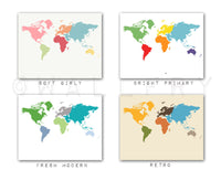 World map throw pillow cushion. 18 x 18 inch. Nursery decor, children's play area, colorful space. Professionally printed soft linen fabric