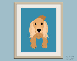 Cocker spaniel dog art print. Puppy modern nursery art for baby & kids room and playroom decor theme. Dog theme art by WallFry
