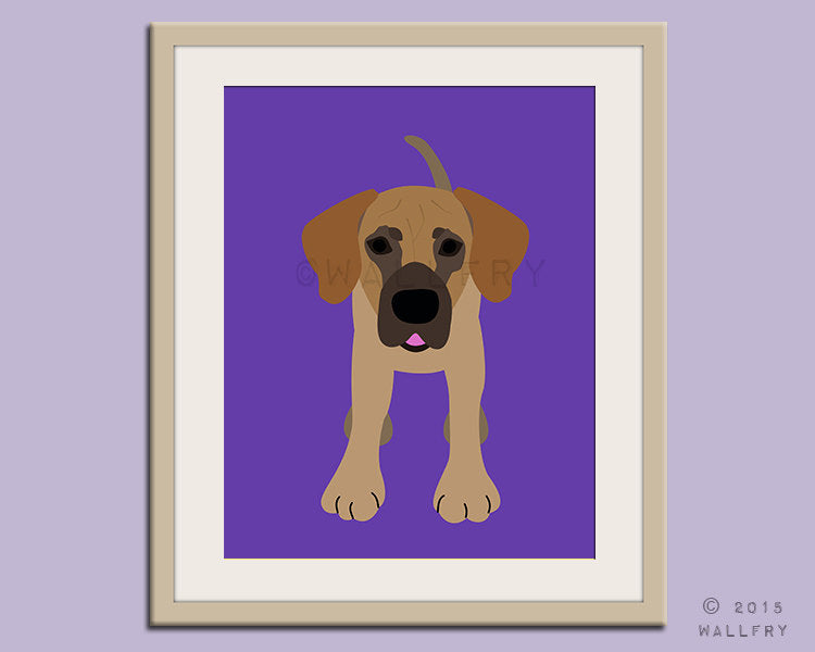 Great Dane print puppy dog nursery decor. Dog nursery print. Art for children, kids decor. Custom dog art kids. Art print by WallFry