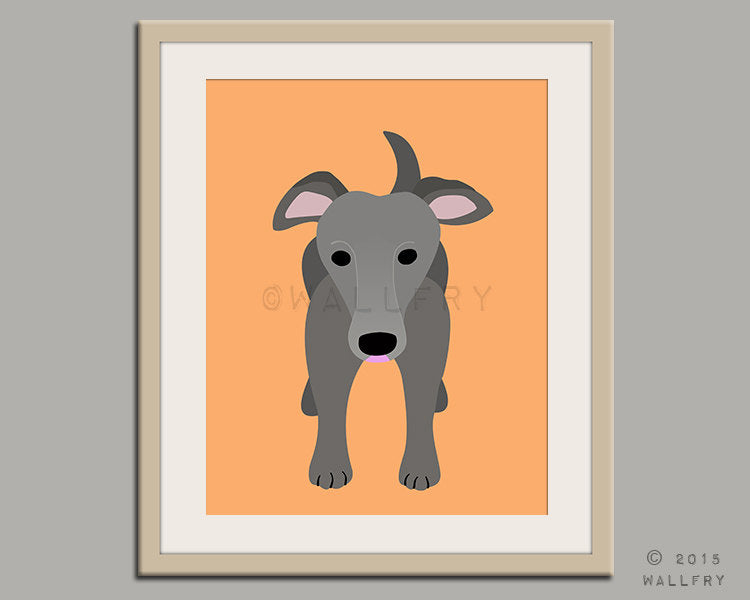Greyhound print puppy dog nursery decor. Dog nursery print. Art for children, kids decor. Custom dog art kids. Art print by WallFry