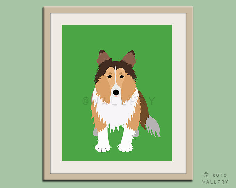 Shetland Sheepdog print puppy dog nursery decor. Dog nursery print. Art for children, kids decor. Custom dog art kids. Art print by WallFry