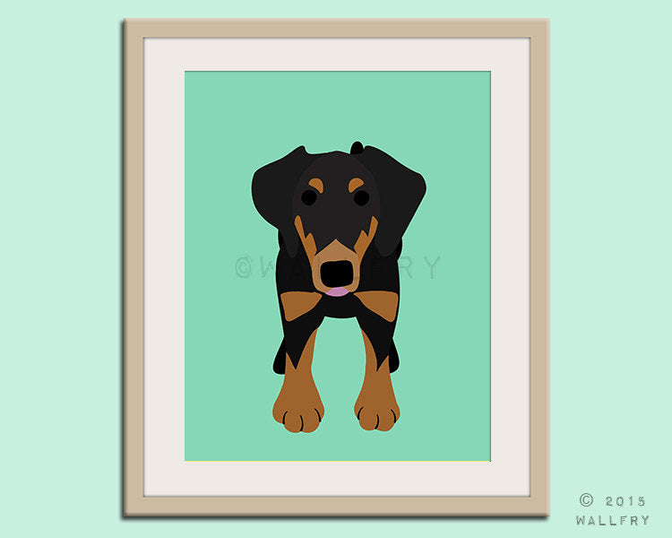 German Pinscher dog puppy dog nursery decor. Dog nursery print. Art for children, kids decor. Custom dog art kids. Art print by WallFry