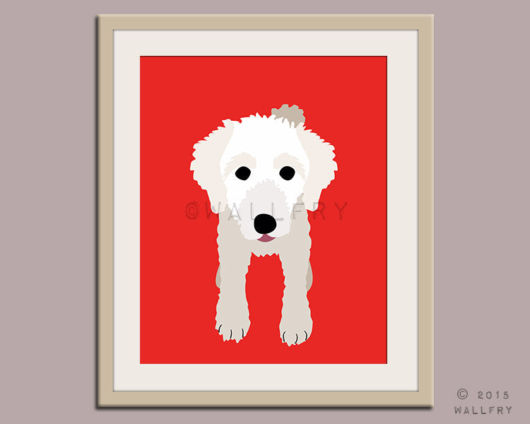 Miniature poodle dog puppy dog nursery decor. Dog nursery print. Art for children, kids decor. Custom dog art kids. Art print by WallFry