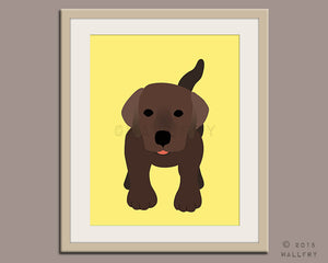 Chocolate Labrador puppy dog nursery decor. Dog nursery print. Art for children, kids decor. Custom dog art kids. Art print by WallFry