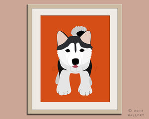 Alaskan malamute print puppy dog nursery decor. Dog nursery print. Art for children, kids decor. Custom dog art kids. Art print by WallFry