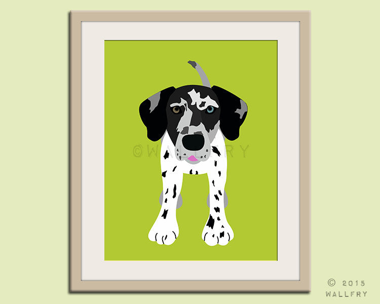 Great Dane puppy dog nursery decor. Dog nursery print. Art for children, kids decor. Custom dog art kids. Art print by WallFry