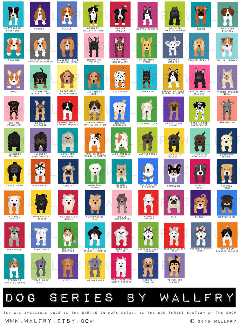 Puppy dog nursery art. Dog prints for kids rooms. Puppy dog artwork for puppy nursery decor. Kids prints. SET of ANY 2 dog prints by WallFry