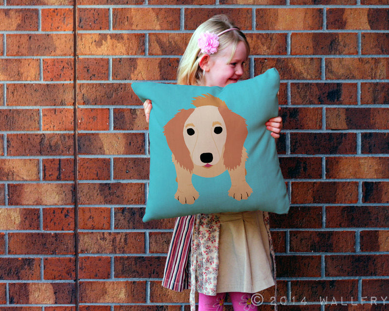 Dachshund throw pillow. Long-haired Doxie cushion. Perfect for dog lover or nursery decor. Professionally printed soft fabric w zip