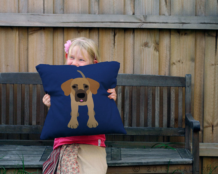 Great Dane throw pillow. Colorful cushion. Perfect for dog lover or nursery decor. Professionally printed soft cotton fabric w zip