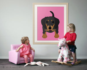 Dachshund print puppy dog nursery decor. Dog nursery print. Doxie, Sausage dog, weiner dog. Art print by WallFry