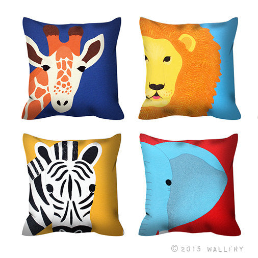 Elephant throw pillow. Safari nursery decor. Safari animal throw pillow. Cushion for nursery. Kids room decor by WallFry
